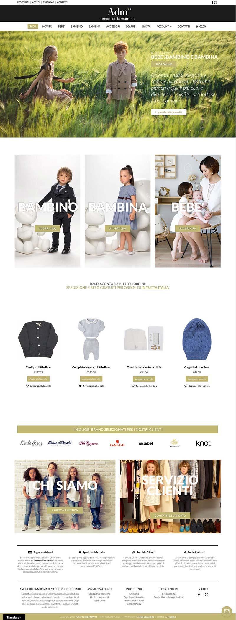 Web Design Portfolio eCommerce Amore della Mamma moda bambini